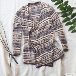 XS Brown and cream Maurices cozy cardigan